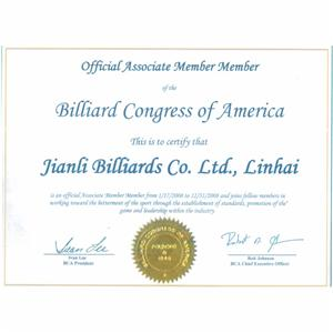Official Associate Member Member Billiard Congress of America