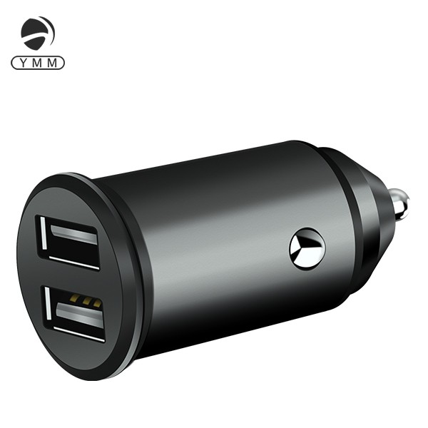Mobile Phone Accessories Mini Body 4.8A Black Metal USB Car Charger