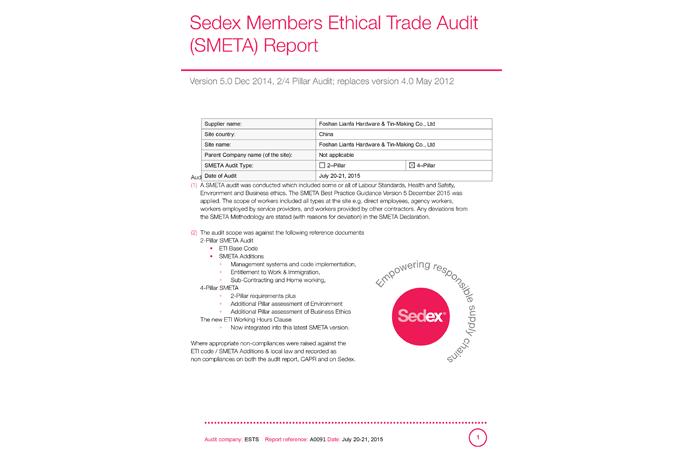 We passed factory audit, Sedex SMETA -4 in 2017
