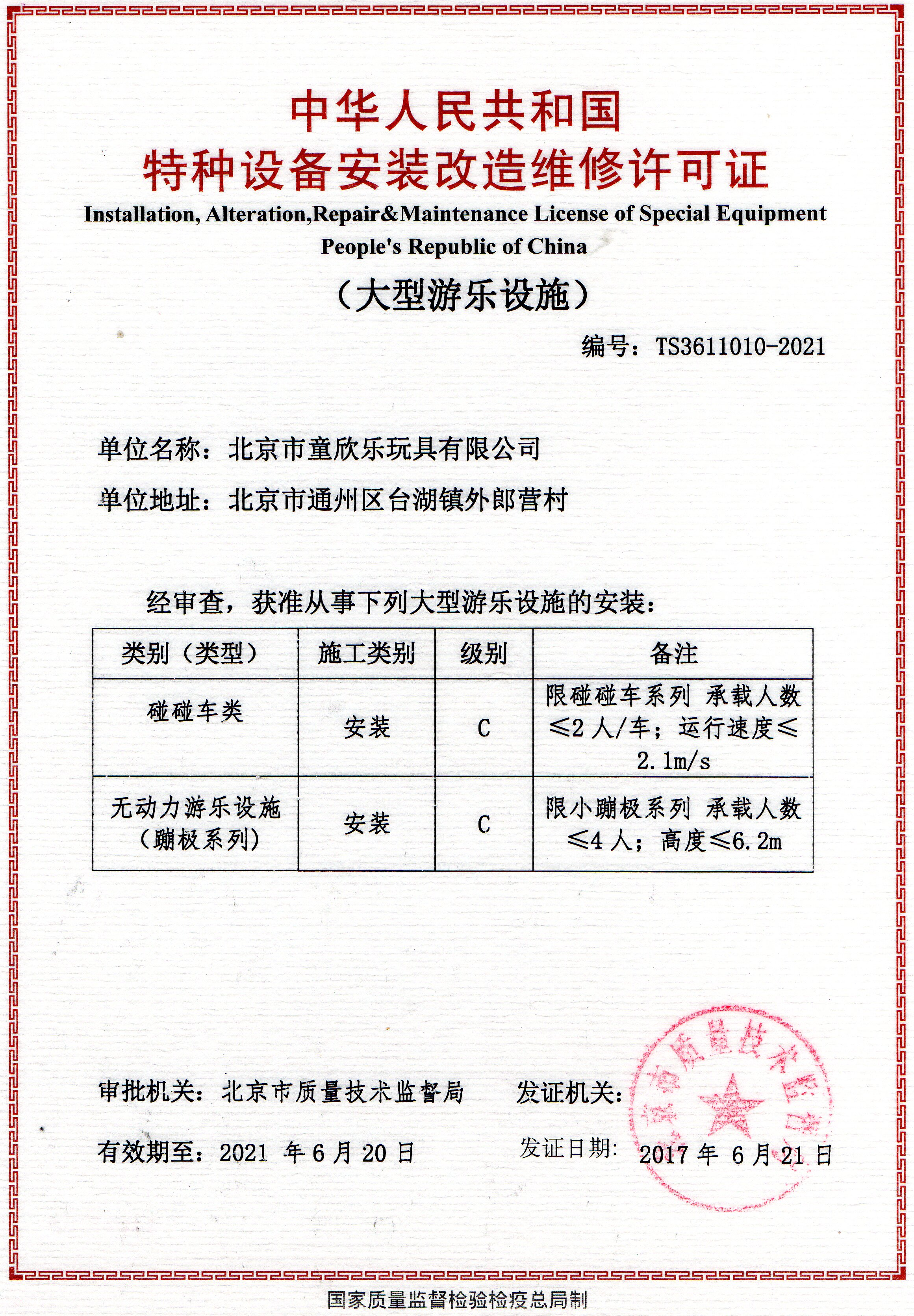 Repair & Maintenance License of Special Equipment