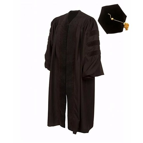 Unisex Black Doctoral Gown with Six Sides Cap