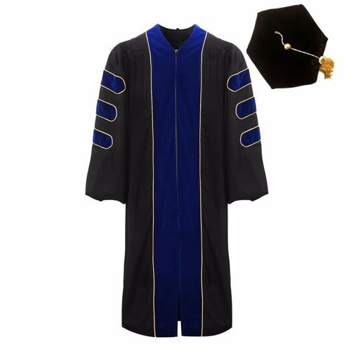Royal Blue Premium Doctoral Gown Hexagon Cap