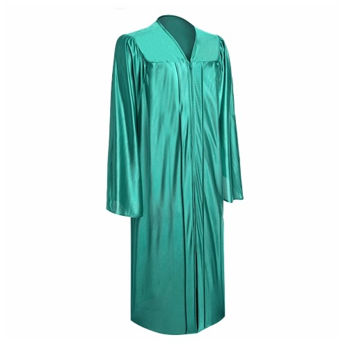 Shiny Bachelor Emerald Green Graduation Gown