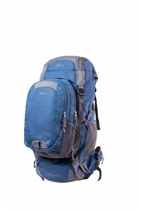 Blue and gray hiking backpack