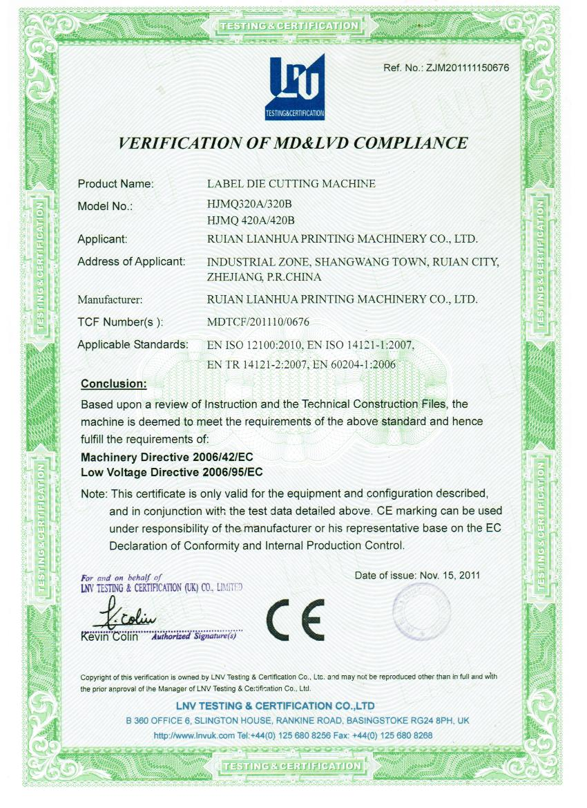 CE certification of die cutting machine