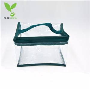 PVC green zipper bag