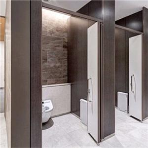Dark Brown Folding Door Toilet Stall