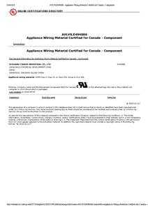 AVLV8.E494886 - Appliance Wiring Material Certified for Canada - Component
