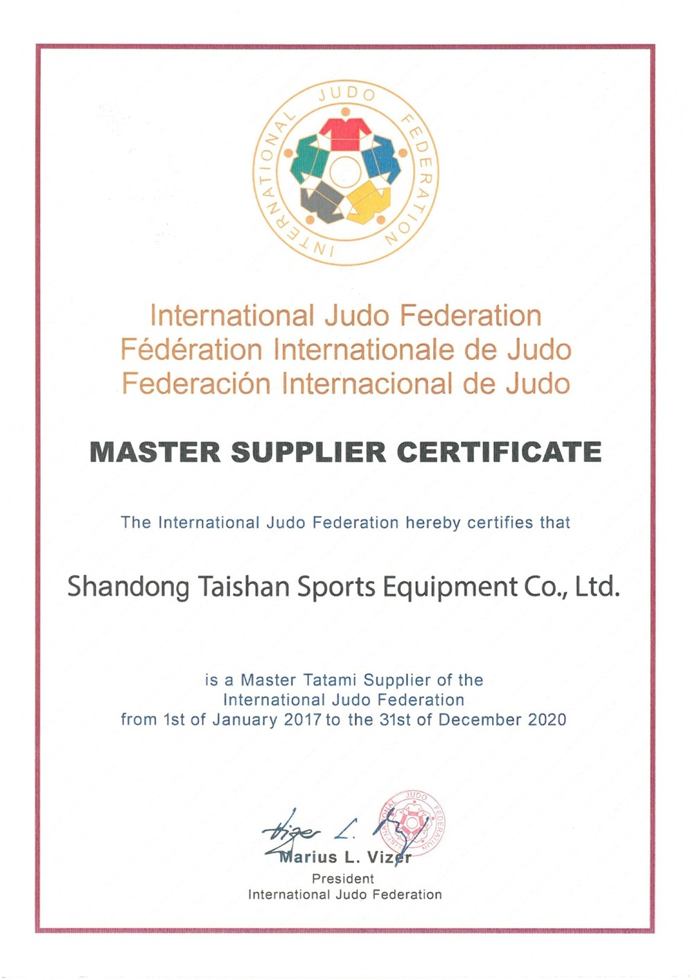 Judo IJF certification