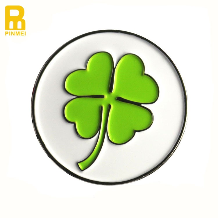 Engraved Logo Four Clover Leaf Golf Ball Marker