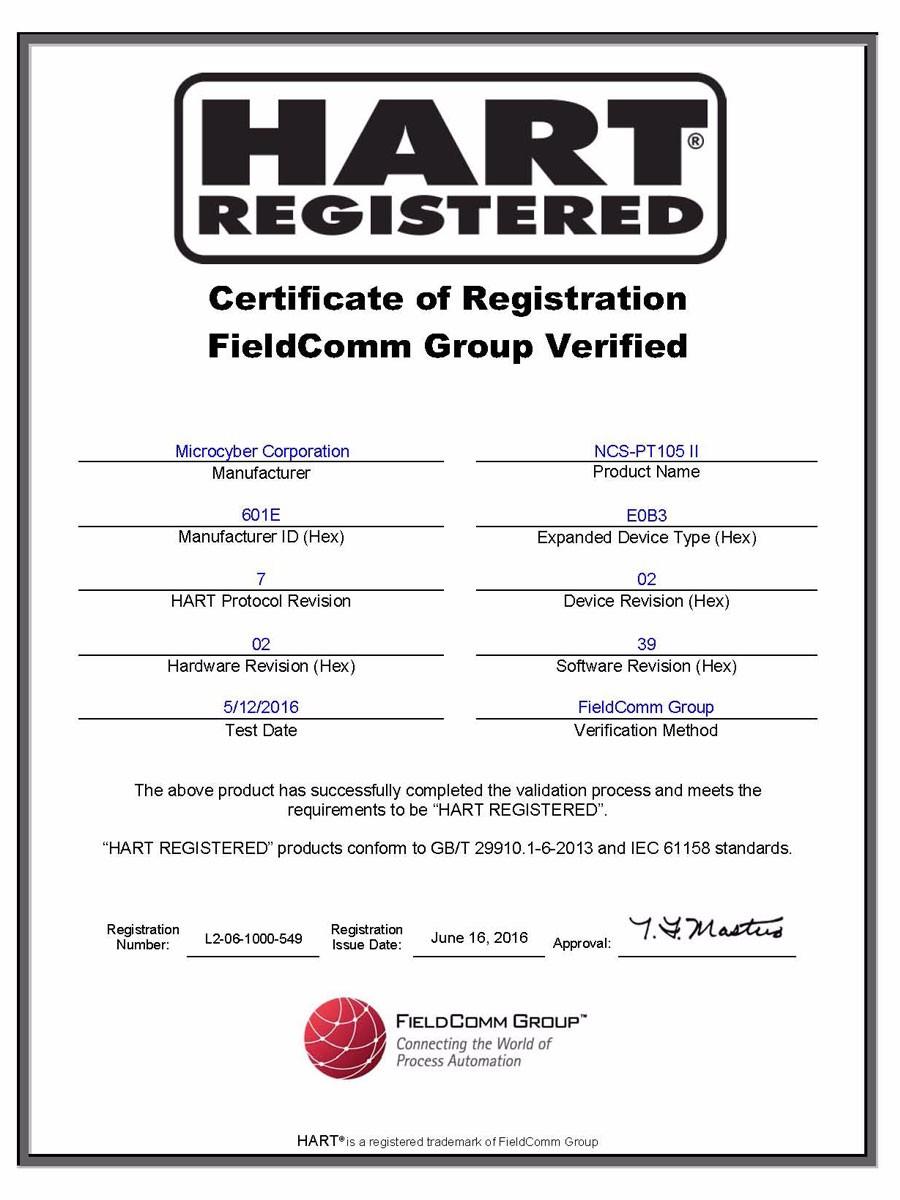 Certificate of Registration FieldComm Group Verified(NCS-PT105II)