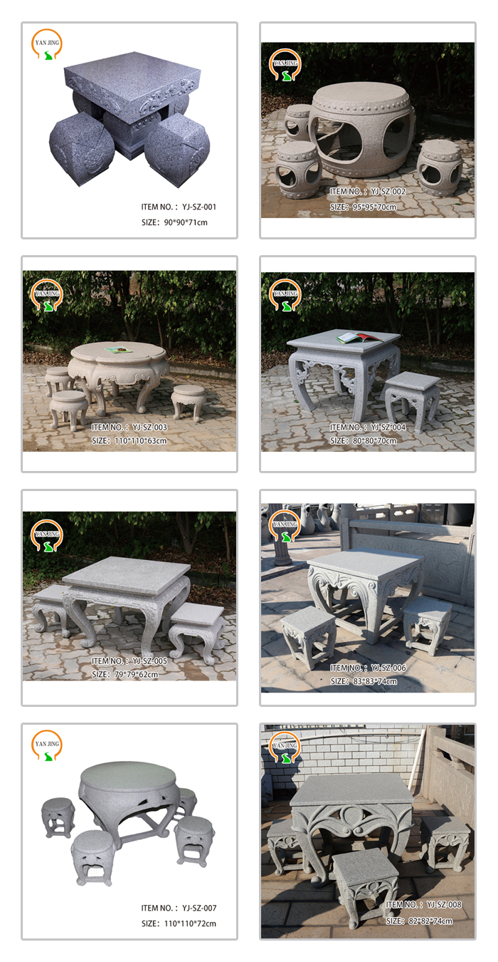 Out door stone design of stone table and chair