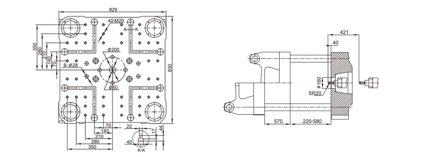 250Ton fixed injection molding machine