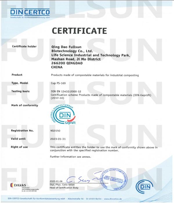Kompostierbares Material EN 13432 Zertifizierung