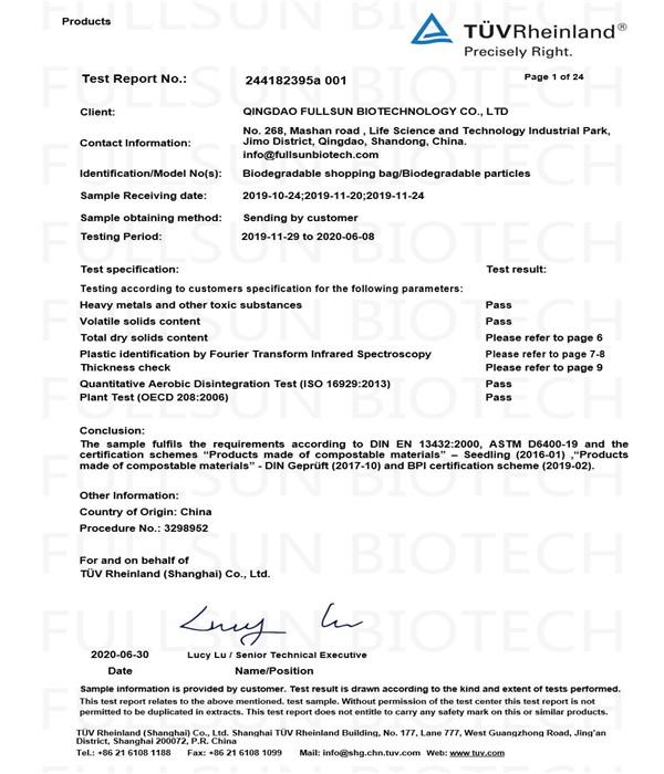 EU-Komposttestbericht für biologisch abbaubare Produkte