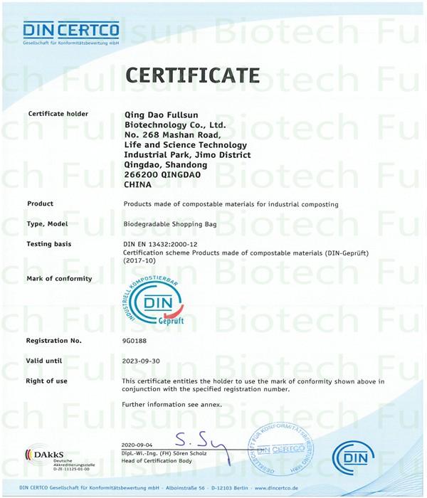 Biologisch abbaubare Plastiktüten haben die Zertifizierung für industrielle Kompostierung bestanden