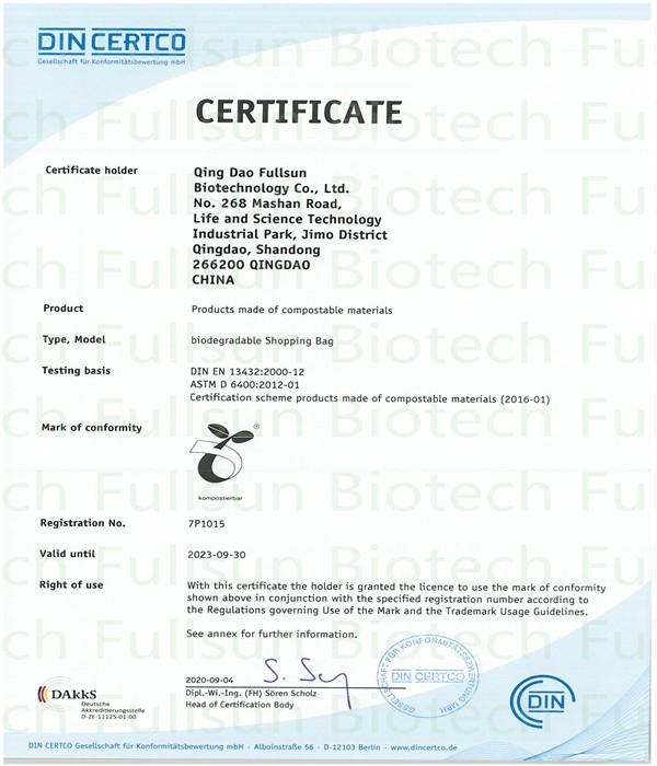 Zertifizierung von Kompostierungsmaterial für biologisch abbaubare Plastiktüten