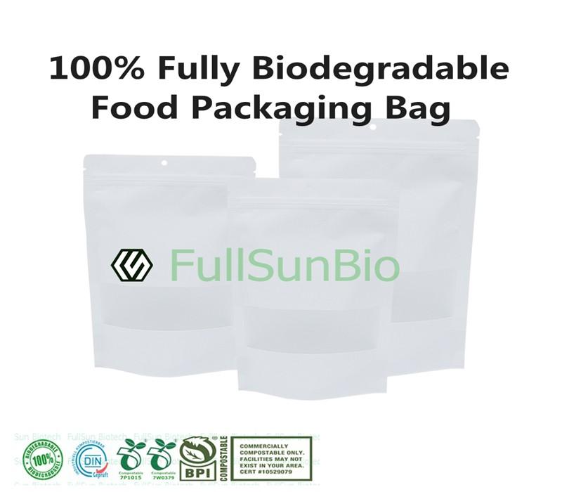 Bolso compuesto de plástico para envasado de alimentos 100% totalmente biodegradable TUV DIN13432 Bolsa de congelador con cremallera al vacío para aperitivos compostables impresos personalizados para mascotas