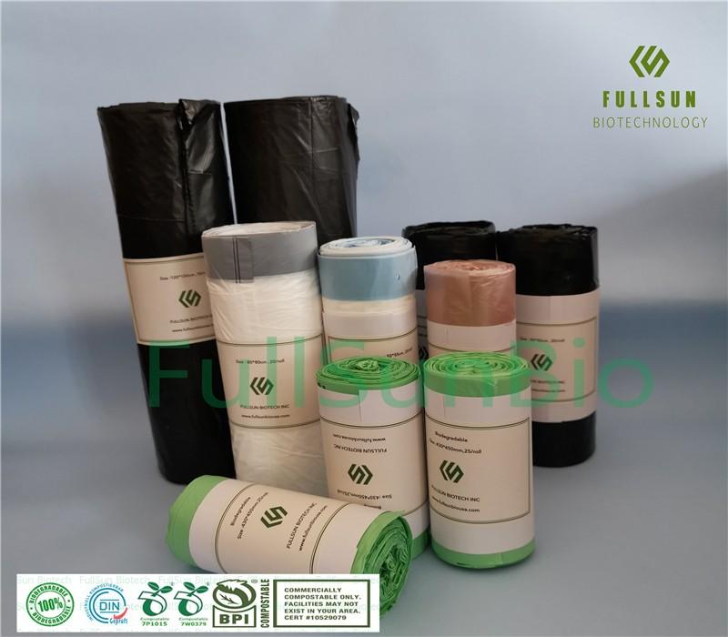 100% plástico biodegradable cubo de basura para compras / lata bolso de cocina con cordón bolsa de envasado de alimentos compostable TUV CE13432 bolsas de basura impresas personalizadas