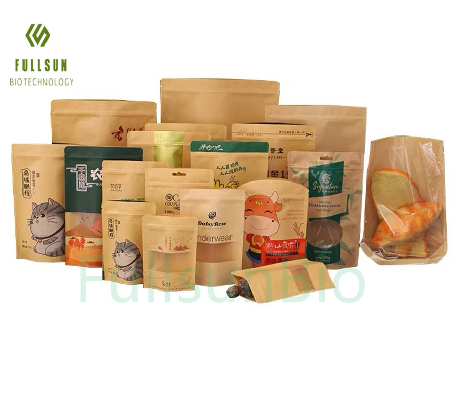 Plastic Food Packaging Bag Stand up Pouch Coffee Tea Candy Snack Window Biodegradable Paper Kraft Bag
