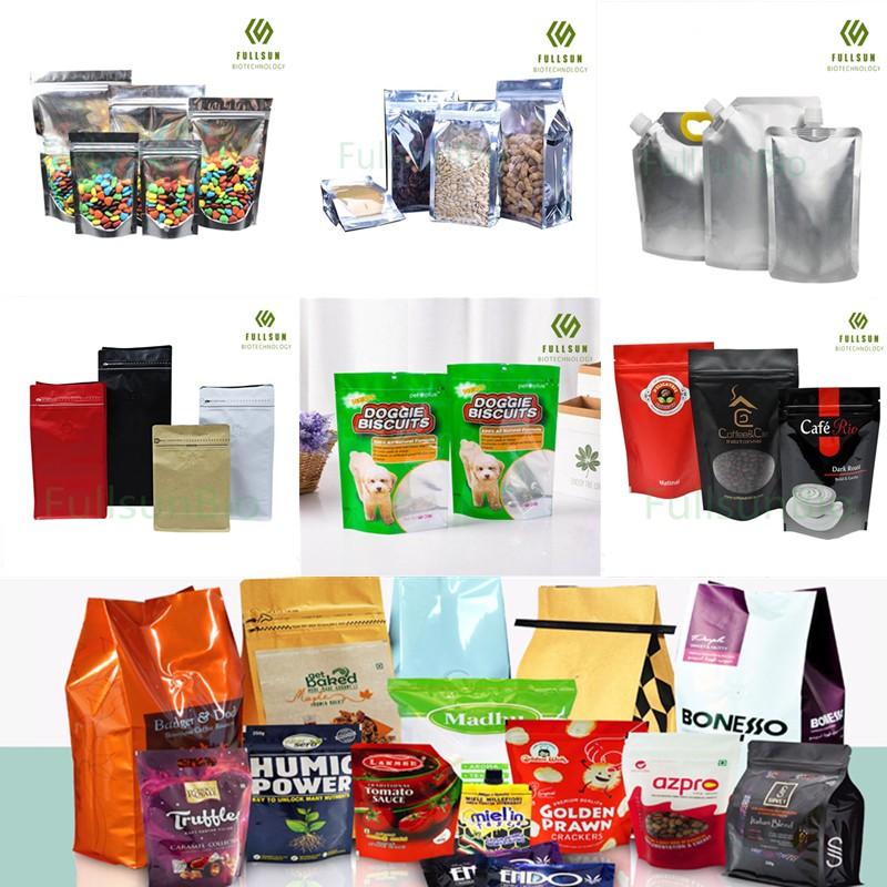23-летний опыт работы Пластиковая сумка для упаковки пищевых продуктов Мешочек с подставкой Кофе Чай Конфеты Закуска для домашних животных Биоразлагаемая переработанная многоразовая сумка на молнии с замком на молнии