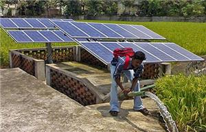 Irrigation solar powered water pump for agriculture