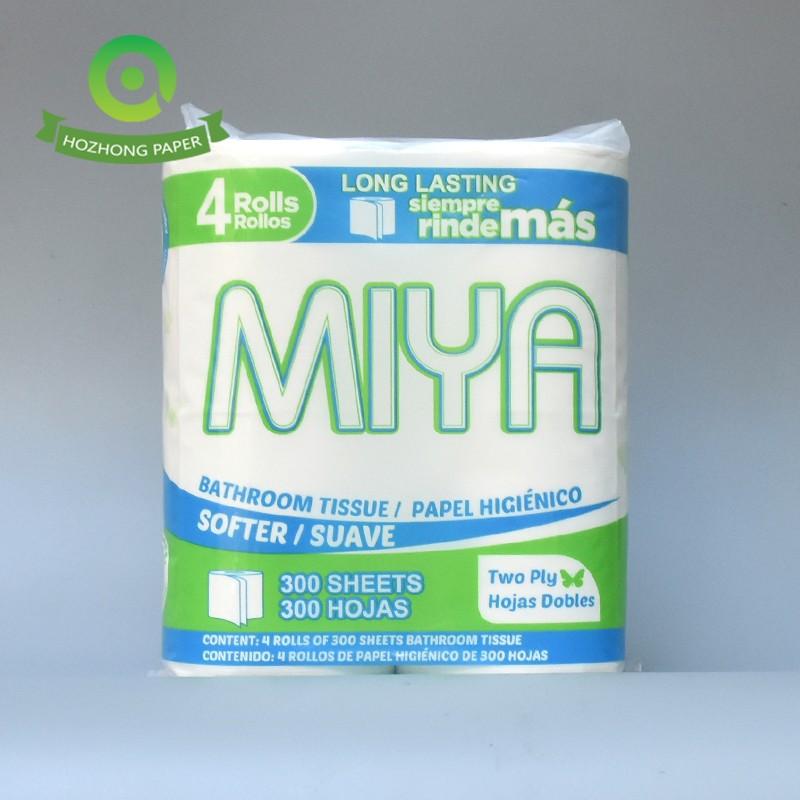 Papel higiénico ultra suave de 2 capas con tacto acolchado, 300 hojas, blanco