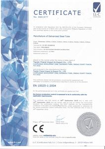 CE Certificate for Galvanized Pipes
