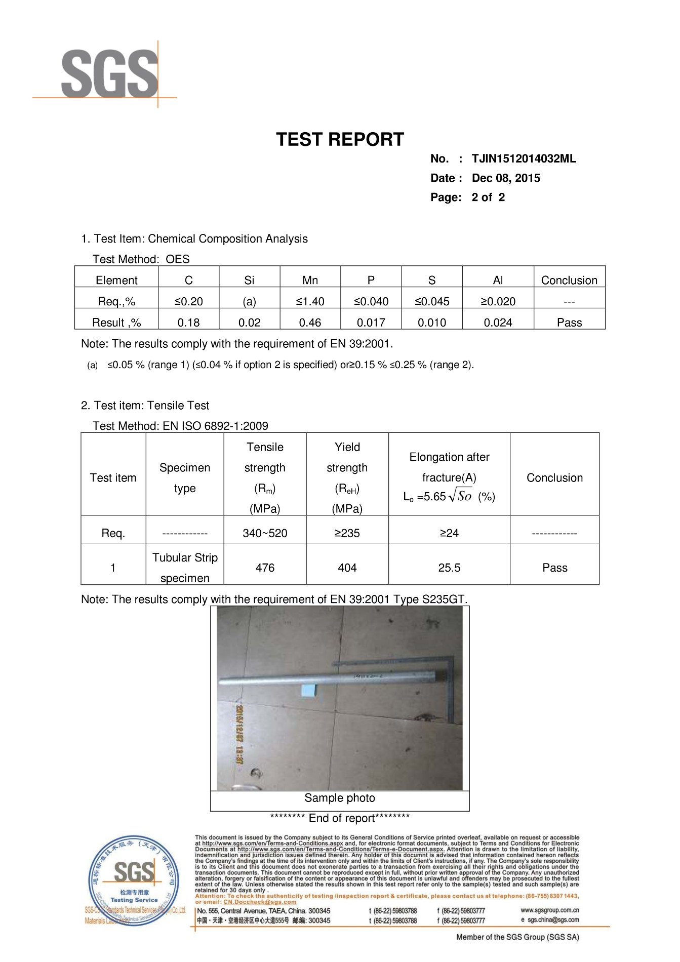 SGS test report for EN39 Scaffold Tubes