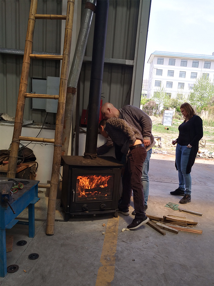 German Customers Come To Visit New Designed Wood Burning Stoves In Our Factory
