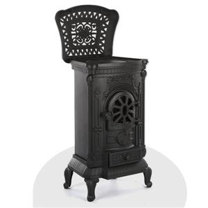 Silver Wood Burning Cast Iron Stove Fireplace Furnace