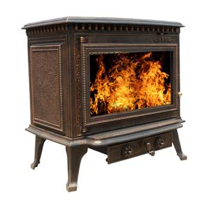 Old Brass Multifuel Cast Iron Fireplace Stoves Wood Burning