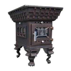 Old Brass Cast Iron Coal Burning Wood Heaters Stove For Sale