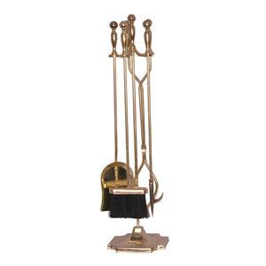 5 Piece Black Shepherd's Crook Fireplace Tool Set