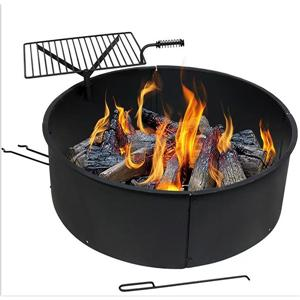 Fire Pit Ring With Portable BBQ Grill