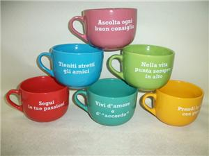 Colorful Ceramic Soup Cup with defferent disign decal