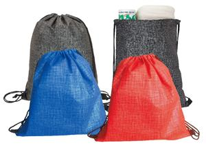 Non Woven Drawstring bag with silver pattern