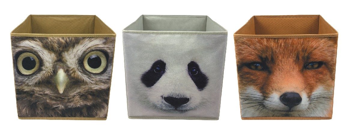 Cute Kids Toy Organizer Baby Clothing Folding Storage Box Collapsible Fabric Storage Cube Boxes with Animal Printing