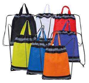 Reflective Promotional Printed Polyester Nylon Drawstring Bag