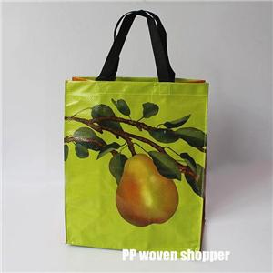 Customizable Laminated Pear pattern PP Woven shopper bag