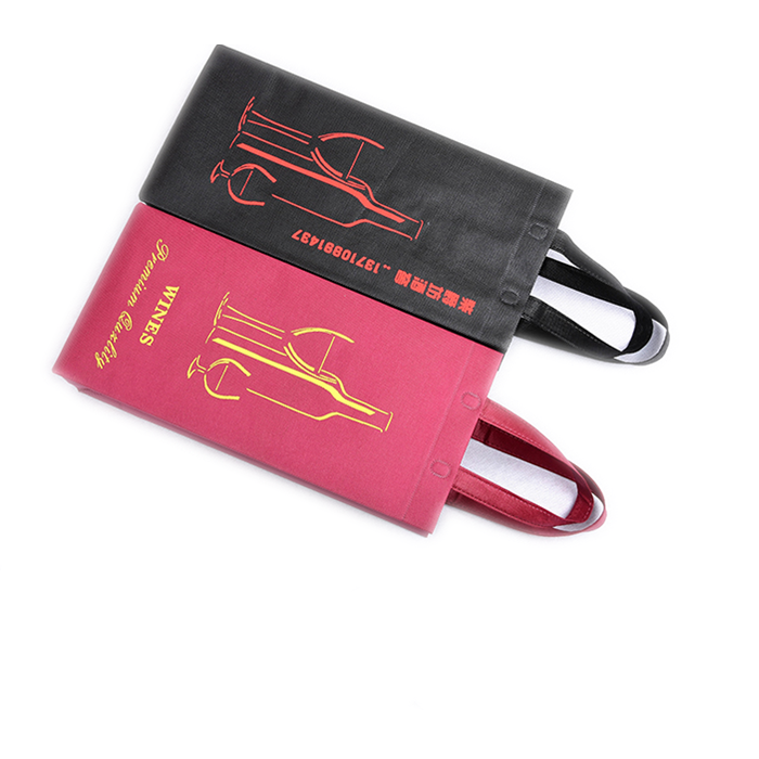 Reusable Promotion Eco-Friendly Non Woven 2 Bottles wine tote bag