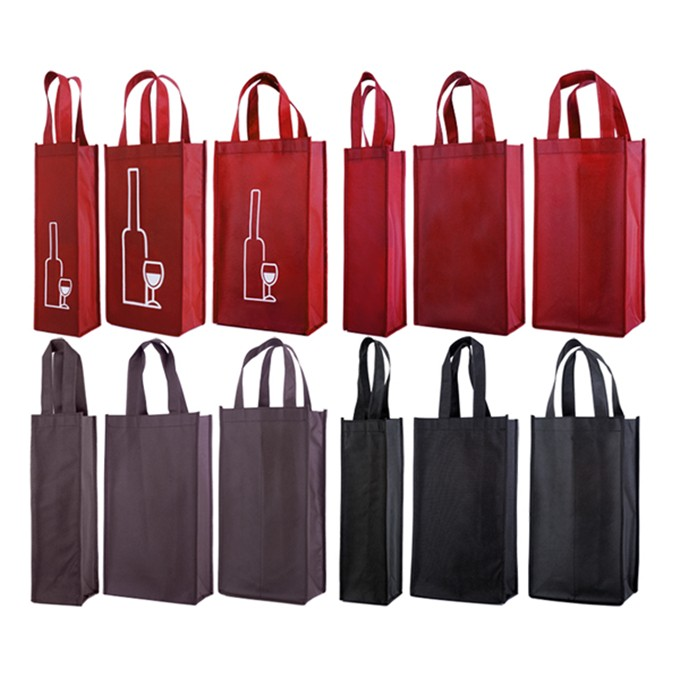 Reusable Promotion Eco-Friendly Non Woven 1 to 6 Bottles wine tote bag