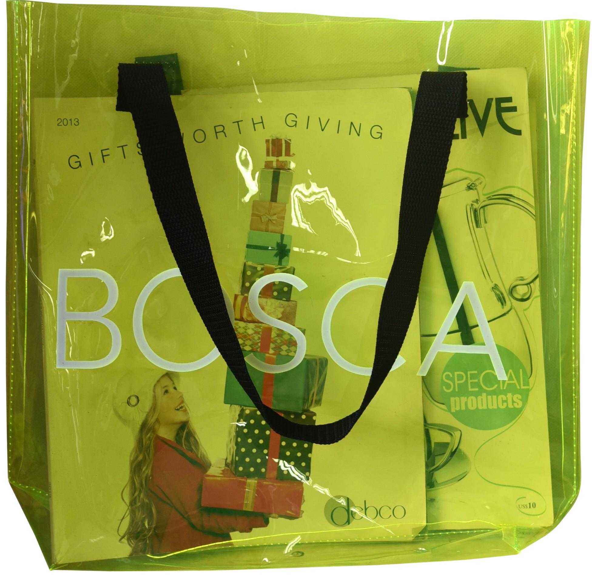 Custom Logo Clear PVC Shopping Bag With Shoulder Handle