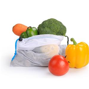 Polyester Supermarket Fruit and Vegetables clear drawstring bags