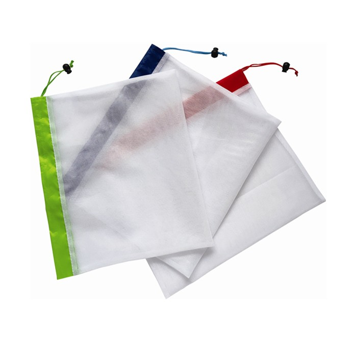 Drawstring Bags Set of 3, Reusable Mesh Produce Bags and Food Storage