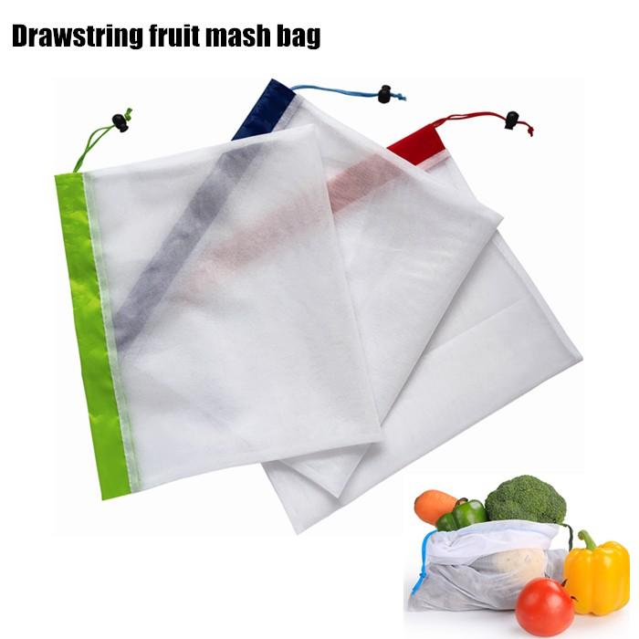 Single Rope Drawstring Reusable Fruit Mash Shopping Bag