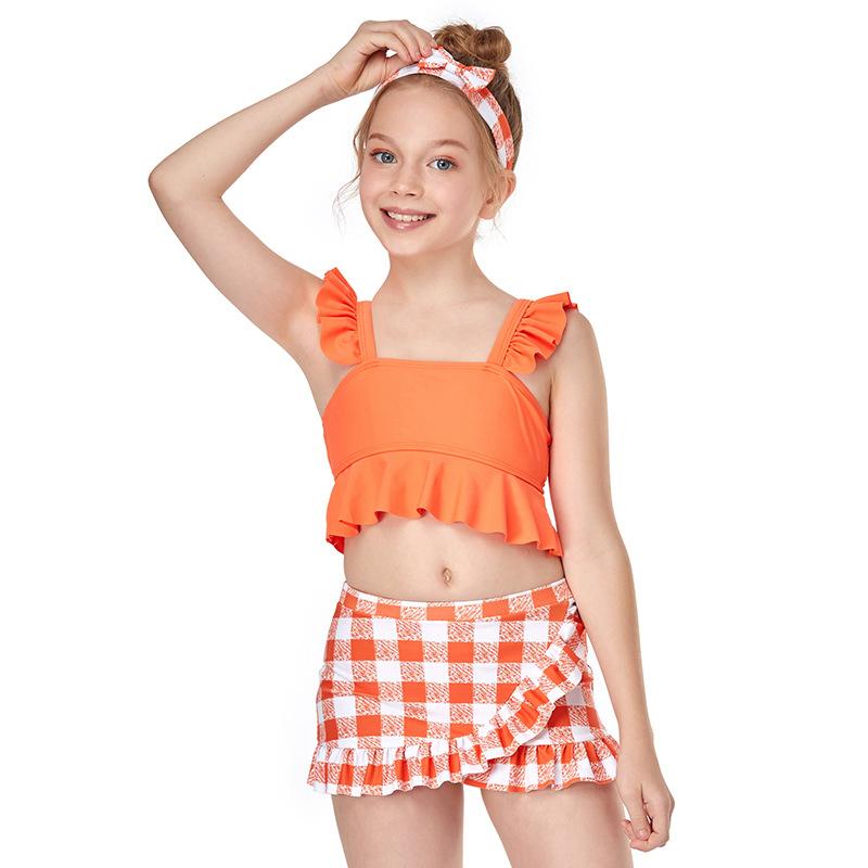Tipegő gyerek kislány fürdőruhák kétrészes fürdőruhával nyomtatott fürdőruha 1-15 évig
