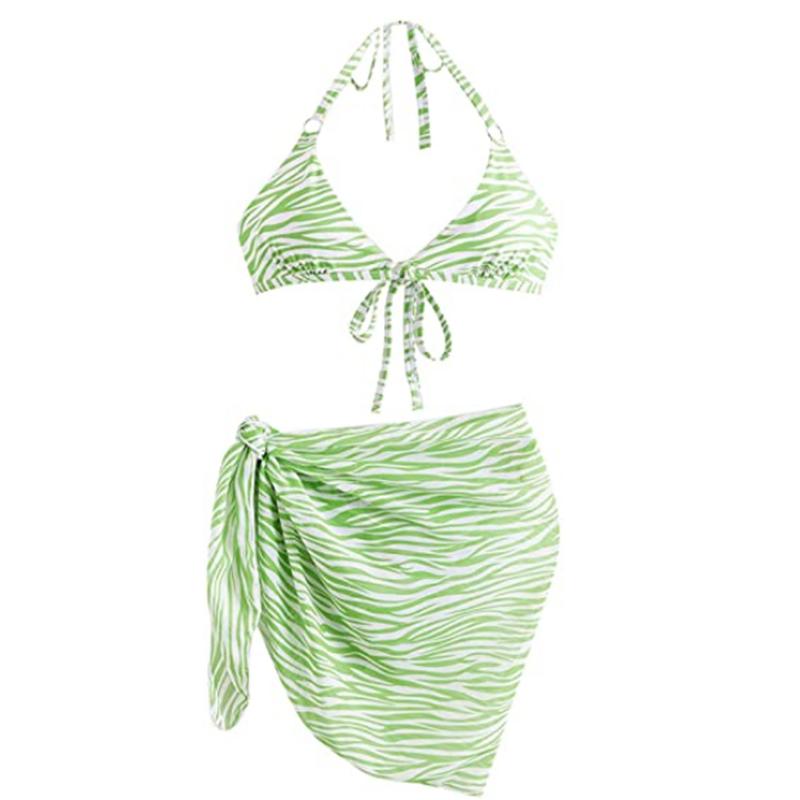 Női 3 részes bikiniszett fürdőruha Sarongs Cover Ups strandszoknyával