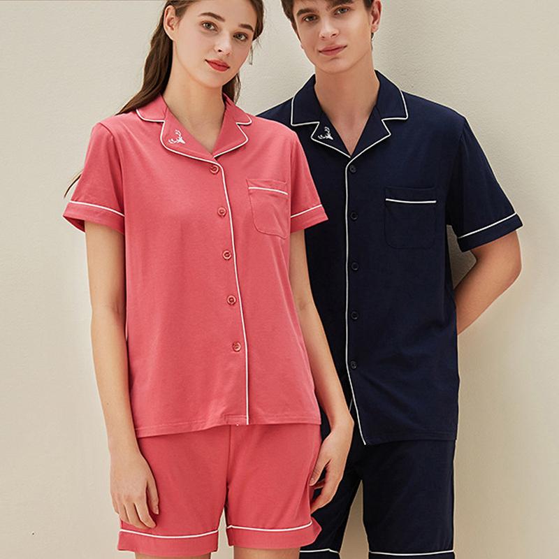 Gomb Cardigan Pajama Set Férfi és női pamut rövid ujjú pizsama