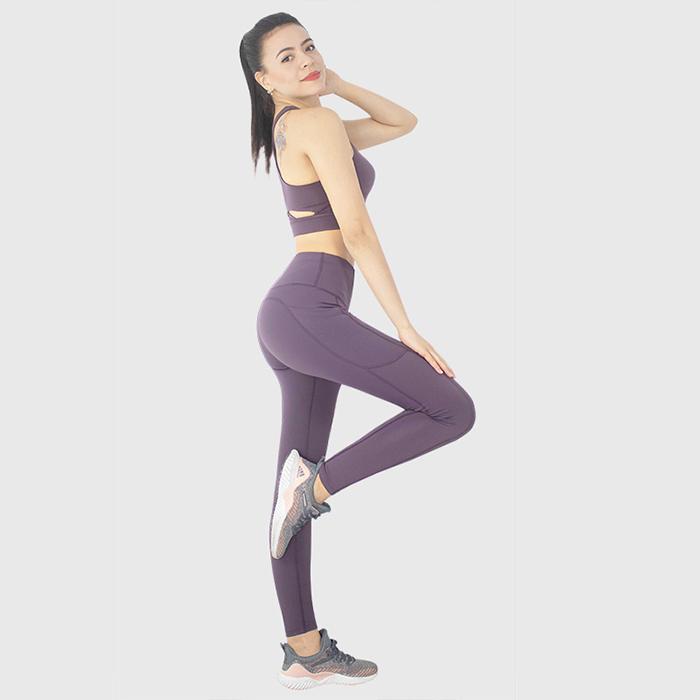 Női edzéskészlet 2 részes, magas derékú jógás leggingshez, stretch sportmelltartó tornaruhához